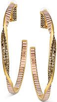 Swarovski Gold-Tone Metallic Crystal Clip-On Hoop Earrings