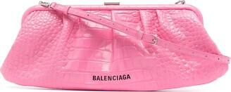 Balenciaga Cloud XL crocodile-embossed clutch