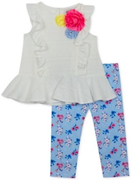 Rare Editions Baby Girls 2-Pc. Eyelet Tunic & Floral-Print Leggings Set