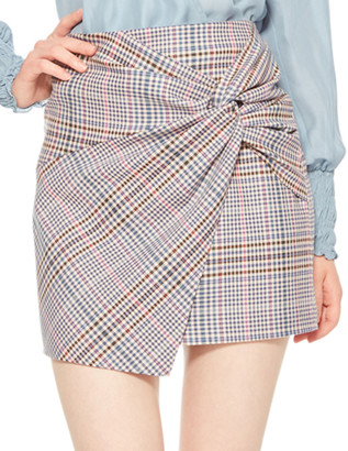 Parker Montaigne Plaid Skirt with Gathered Front