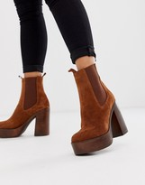 Asos DESIGN Extra suede platform chelsea boots in tan