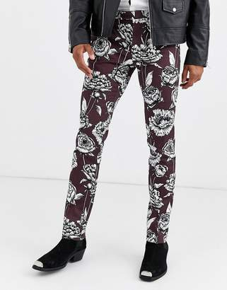 Twisted Tailor skinny trousers with floral print in burgundy-Red
