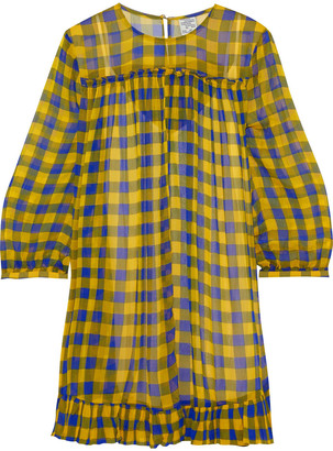 Baum und Pferdgarten Ruffle-trimmed Checked Georgette Mini Dress