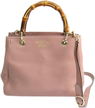 Gucci Light Pink Pebbled Leather Bamboo Top Handle Small Shopper Tote Bag