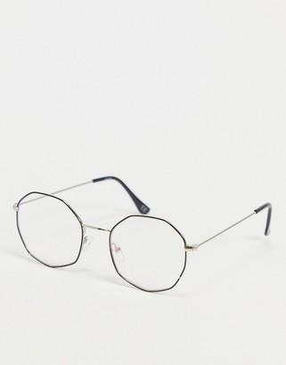 ASOS DESIGN angled fine frame clear lens fashion glasses with blue flash lens