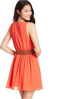 Amy Byer Belted Chiffon Dress