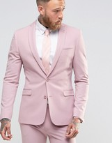 Asos Super Skinny Fit Suit Jacket In Pink