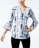 Alfani Printed Ruffle-Sleeve Top, Only at Macy's