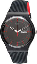 Swatch Unisex Swiss Gaet Black and Red Double-Layered Silicone Strap Watch 41mm SUOB714