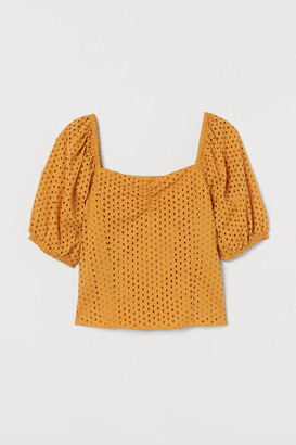 H&M Eyelet Embroidery Blouse - Yellow