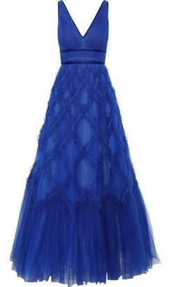 Marchesa Lace-appliqued Ruffled Tulle Gown