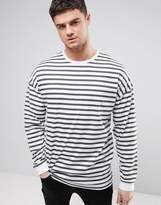 Asos Stripe Oversized Long Sleeve T-Shirt With Bellow Sleeve