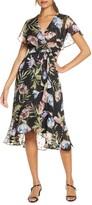 Maison Tara Floral Clip Dot Cape Bodice Chiffon Dress
