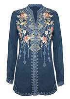 Johnny Was Women's Rayon Contrast Embroidered top with Long Sleeve