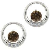 Gem Stone King 0.96 Ct Round Brown Smoky Quartz and White Diamond 18k White Gold Earrings