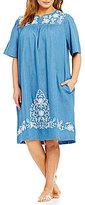 Go Softly Patio Plus Embroidered Denim Patio Dress
