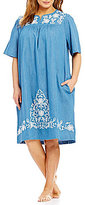 Go Softly Plus Embroidered Denim Patio Dress