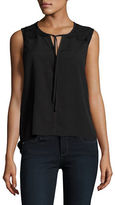 French Connection Belle Roundneck Tie Front Crepe Top