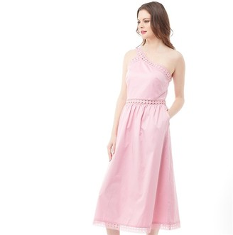 Ted Baker Cottoned On Womens Kallii Asymmetric Cotton Midi Dress Dusky Pink