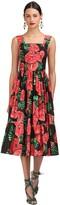 Dolce & Gabbana Floral Printed Stretch Poplin Midi Dress