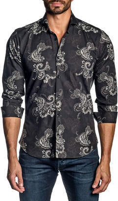 Jared Lang Men's Paisley Cotton Sport Shirt