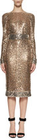 Tom Ford Embroidered Metal Sheath Dress, Silver