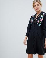 Asos Design DESIGN embroidered button through mini tea dress with long sleeves