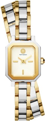Tory Burch Robinson Mini Watch, Two-Tone Gold/Stainless Steel/Ivory, 22 MM