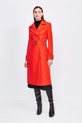 Karen Millen Wool Blend Popper Detail Coat
