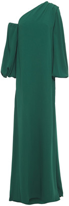 Carolina Herrera One-sleeve Draped Pleated Crepe Gown