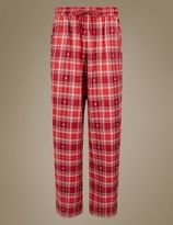 Marks and Spencer Cotton Rich Checked Straight Leg Pyjama Bottoms