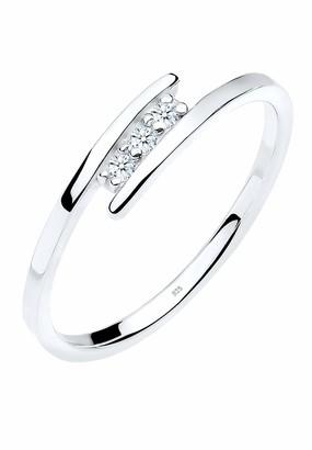 Diamore Women's 925 Sterling Silver 0.06 ct Diamond Wrap Ring Size N