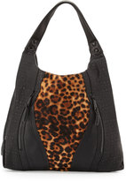 Cynthia Rowley Ollie Calf-Hair Tote Bag, Black/Leopard