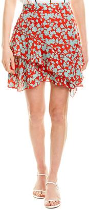 Derek Lam 10 Crosby Asymmetrical Ruffle Silk-Blend Mini Skirt