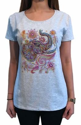 Irony Womens T-Shirt Ethnic Elephant Tapestry Print TS1685 Grey