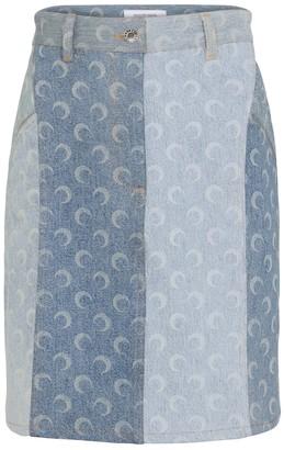 Marine Serre Printed denim miniskirt