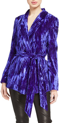Alice + Olivia Wheaton Shawl-Collar Wrap Blazer