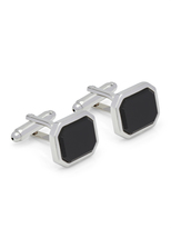 Oxford Cufflinks Silver/Black Stone