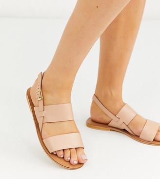 ASOS DESIGN Wide Fit Foxglove leather flat sandals in beige