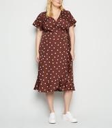 New Look Curves Spot Wrap Midi Dress