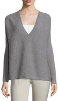 Lafayette 148 New York Oversized Ribbed V-Neck Sweater, Nickel