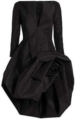 Sculpted Rosette Cocktail Dress