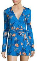 Diane von Furstenberg Celeste Floral-Print Silk Wrap Romper