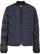 Karl Lagerfeld Bouclé And Quilted Shell Bomber Jacket - Navy