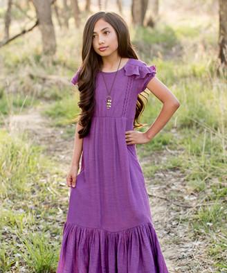 Joyfolie Girls' Casual Dresses Ameythyst - Amethyst Abigail Ruffle-Accent Maxi Dress - Toddler & Girls