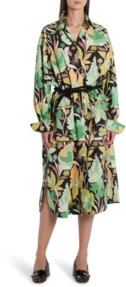 Fendi Dream Garden Print Long Sleeve Cotton Shirtdress