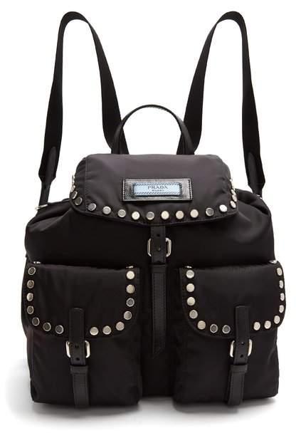 Prada Small Stud Embellished Nylon Backpack - Womens - Black