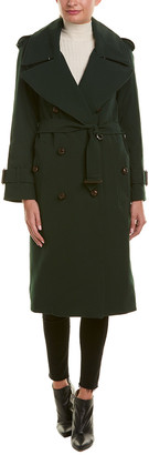 Burberry Gabardine Oversized Lapel Wool Trench Coat