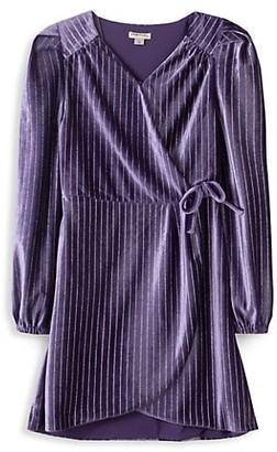 Habitual Girl's Faux Wrap Velour Dress