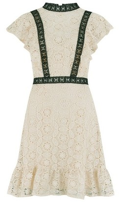 Dorothy Perkins Womens Little Mistress White And Black Contrast Lace Detail Skater Dress, Black